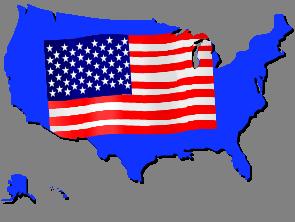 US Flag over US Background